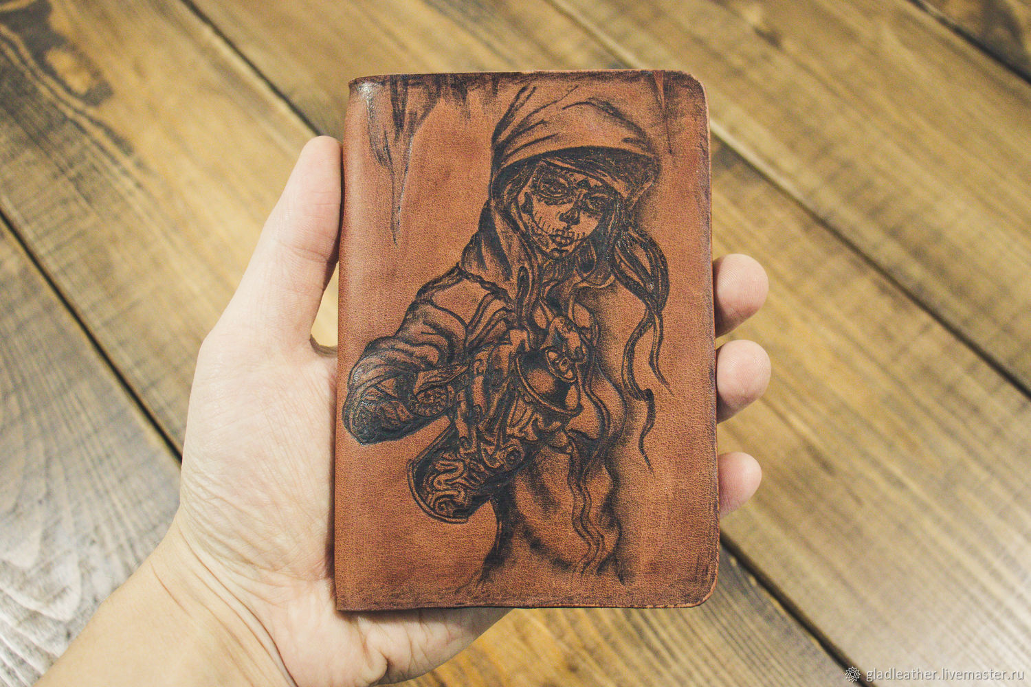 Passport cover made of leather with pyrography Chicano Graffiti, Cover, Volzhsky,  Фото №1