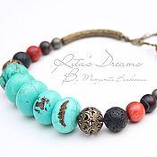 Украшения handmade. Livemaster - original item Choker ethnic Turquoise stones large short beads turquoise ethnic. Handmade.