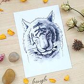 Открытки ручной работы. Ярмарка Мастеров - ручная работа Почтовая открытка с тигром. Handmade.
