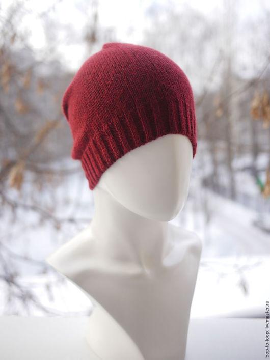 Шапки ручной работы. Ярмарка Мастеров - ручная работа. Купить Вязаная шапка. Handmade. Бордовый, шапочка, шапка-носок, нейлон
