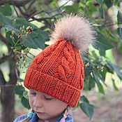 Работы для детей, handmade. Livemaster - original item Warm winter hat red with fur pompom wiring harness. Handmade.