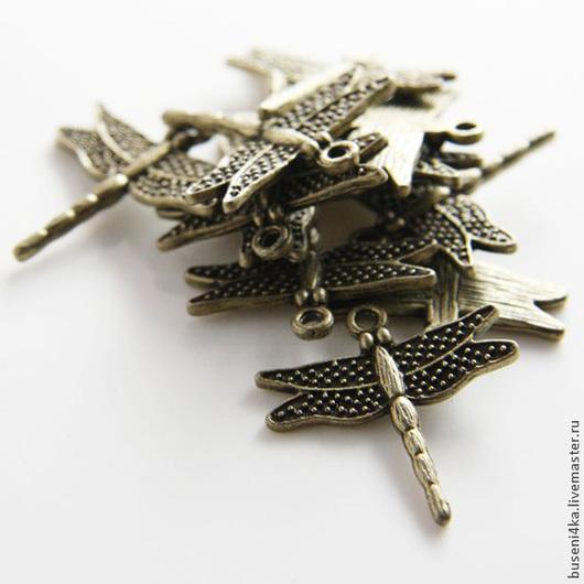 Для украшений ручной работы. Ярмарка Мастеров - ручная работа. Купить Подвеска Стрекоза, античная бронза (1шт). Handmade.