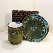 Посуда ручной работы. Ярмарка Мастеров - ручная работа Кружка с блюдцем керамические, чайная пара. Handmade.