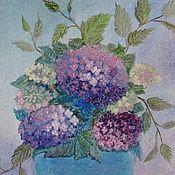 """Картины и панно ручной работы. Ярмарка Мастеров - ручная работа """"Гортензии в вазе"""" Картина маслом Цветы в вазе. Handmade."""