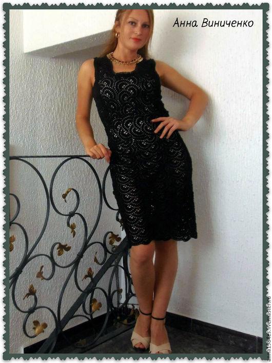 Платья ручной работы. Ярмарка Мастеров - ручная работа. Купить Вязаное платье,,Клеопатра,,связано ленточным кружевом.... Handmade. Черный