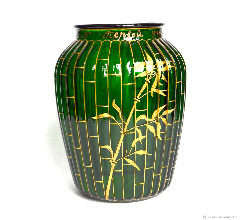 Стеклянная ваза с росписью, бамбук, зеленая ваза, витражная роспись, Вазы, Обнинск,  Фото №1
