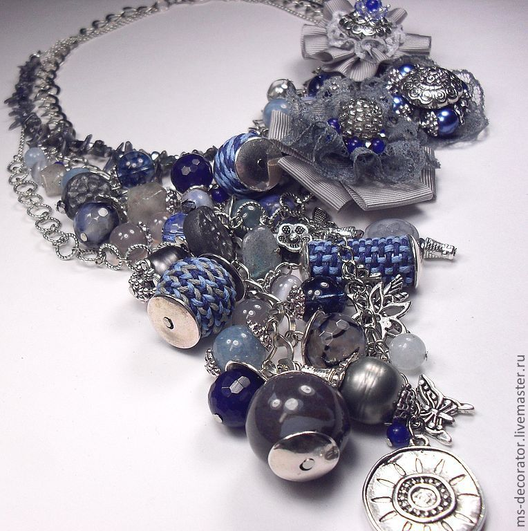 Evening in denim color. Kit. Necklaces, three brooches, Jewelry Sets, St. Petersburg,  Фото №1