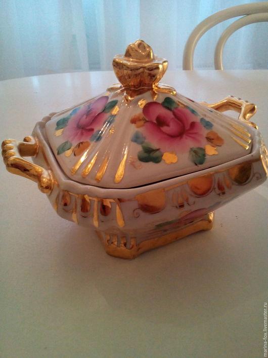 Винтажная посуда. Ярмарка Мастеров - ручная работа. Купить Винтажная Конфетница Розовая Гжель розы с золотом. Handmade. Комбинированный