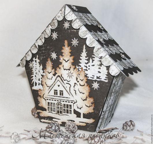 """Новый год 2017 ручной работы. Ярмарка Мастеров - ручная работа. Купить подарочная коробочка """"В зимнем лесу-2"""". Handmade."""