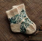Аксессуары handmade. Livemaster - original item Socks baby wool with ornaments. Handmade.