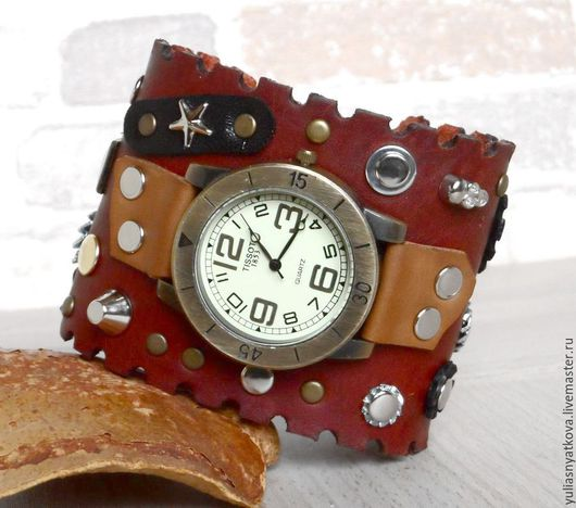 """Часы ручной работы. Ярмарка Мастеров - ручная работа. Купить Часы на кожаном браслете """"Стимпанк"""".. Handmade. Часы, браслет для часов"""
