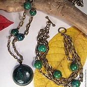 Украшения handmade. Livemaster - original item Set with chrysocolla, the