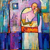 Картины и панно handmade. Livemaster - original item The original painting in blue violet shades painting gift. Handmade.