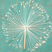 """Картины и панно ручной работы. Ярмарка Мастеров - ручная работа Картина вышитая на льне """"Снежный одуванчик"""". Handmade."""