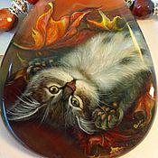 Украшения handmade. Livemaster - original item Kitten THEA – shaped pendant with lacquer-painted carnelian. Handmade.