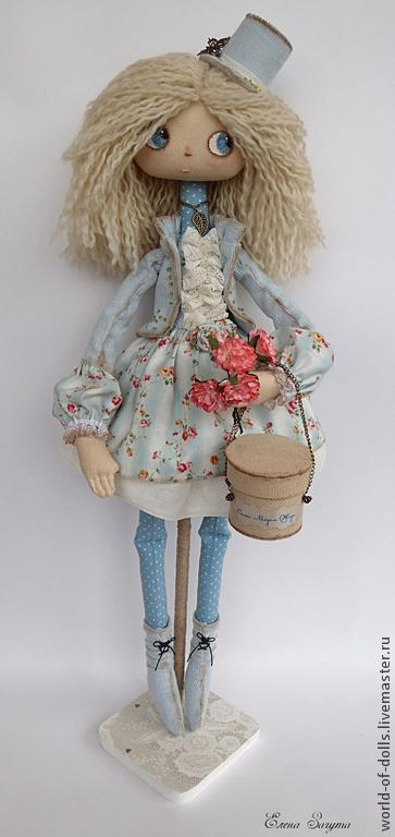 Коллекционные куклы ручной работы. Ярмарка Мастеров - ручная работа. Купить Амели- Интерьерная кукла. Handmade. Голубой, текстильная кукла