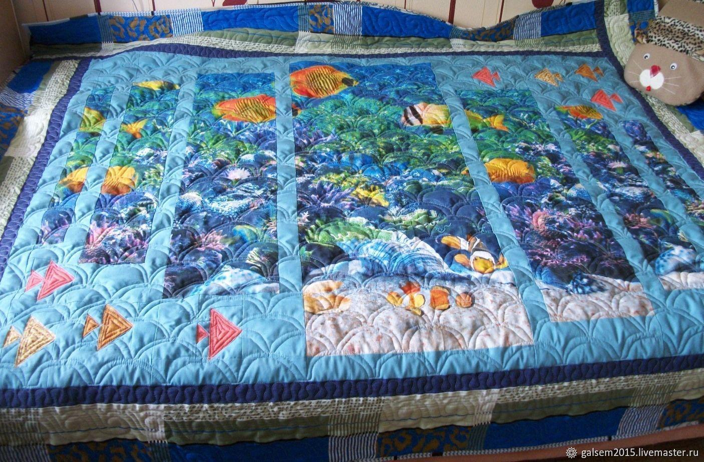 Покрывало одеяло лоскутное стеганое Аквариум пэчворк, Одеяла, Верхняя Салда,  Фото №1