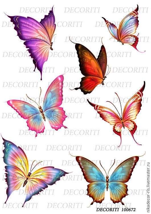 Декупаж и роспись ручной работы. Ярмарка Мастеров - ручная работа. Купить Фантазийные бабочки (D100672) - рисовая бумага, А4. Handmade.