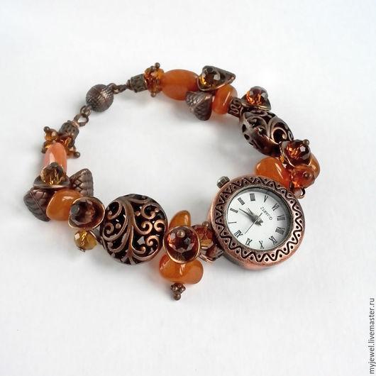 """Часы ручной работы. Ярмарка Мастеров - ручная работа. Купить Часы наручные женские """"Медовая осень"""". Часы браслет. Handmade."""