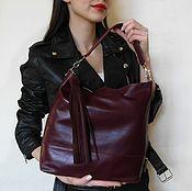 Кожаная сумка на плечо. Вишневая кожаная сумка.Бордовый, вишневый,марс