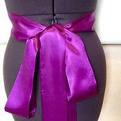 Свадебный салон handmade. Livemaster - original item Waist long satin/ Purple satin. Handmade.