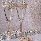"""Свадебный салон ручной работы. Ярмарка Мастеров - ручная работа Свадебные бокалы """"Млечный путь"""". Handmade."""