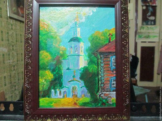 Город ручной работы. Ярмарка Мастеров - ручная работа. Купить Спасский храм в Таре. Handmade. Комбинированный, пейзаж, городской пейзаж