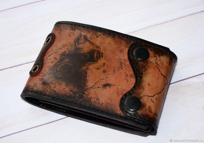 Кожаный кошелёк . Стимпанк портмоне, Аксессуары, Москва,  Фото №1