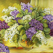 Картины и панно handmade. Livemaster - original item The picture ribbons of lilac at the window. Handmade.