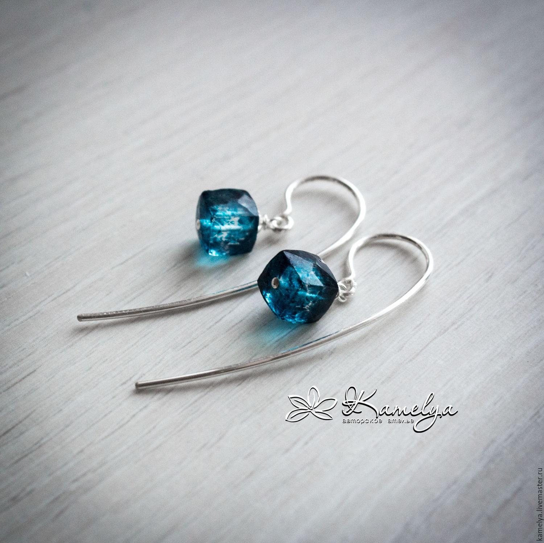 Silver earrings with mystic quartz 'Shining night' 925 silver, Earrings, Yaroslavl,  Фото №1