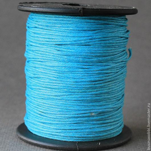 Шнур вощеный хлопок бирюзовый на катушке Шнур плетеный из хлопка бирюзового цвета  с восковой пропиткой диаметром 1 мм и длиной 10 метров для сборки украшений