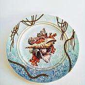 Посуда handmade. Livemaster - original item The painted porcelain.Decorative plate