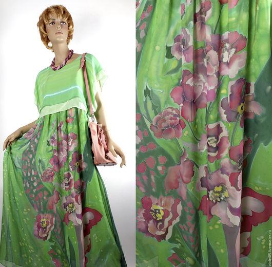 Платья ручной работы. Ярмарка Мастеров - ручная работа. Купить Мятный каприз -  Двойное платье батик натуральный шелк. Handmade.