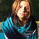 Комплекты аксессуаров ручной работы. Шарф «Теплая осень» синий-голубой. Семейное ателье ,,Петровская эпоха,. Интернет-магазин Ярмарка Мастеров.