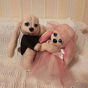 Куклы и игрушки ручной работы. Ярмарка Мастеров - ручная работа Свадебная пара зайчиков. Handmade.