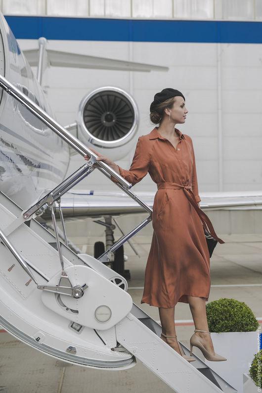 Платья ручной работы. Ярмарка Мастеров - ручная работа. Купить Платье-рубашка из вареного шелка. Handmade. Рыжий, платья