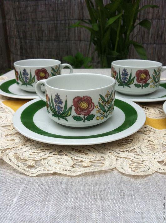 """Винтажная посуда. Ярмарка Мастеров - ручная работа. Купить Чашкас блюдцем """"Лето"""" 5 пар, """"Villeroy&Boch"""", Люксембург. Handmade. все для чая"""
