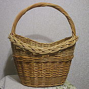 Для дома и интерьера ручной работы. Ярмарка Мастеров - ручная работа Корзина плетеная овальная с ручкой из ивовой лозы. Handmade.