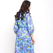 Одежда handmade. Livemaster - original item Cotton dress lace up designer print Ksenia Knyazeva. Handmade.