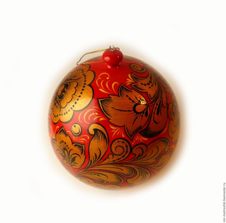 Christmas ball with Khokhloma painting (opening), Christmas decorations, Sarov,  Фото №1