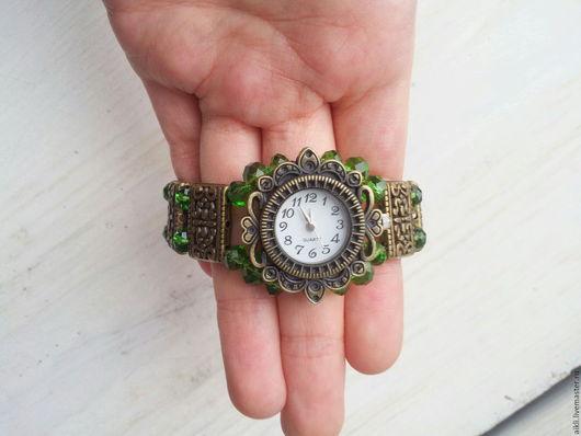 """Часы ручной работы. Ярмарка Мастеров - ручная работа. Купить Часы браслет """"Арабелла"""". Handmade. Зеленый, часы с браслетом"""