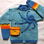 Работы для детей, handmade. Livemaster - original item jacket In search of treasure knitted baby boy`s jacket. Handmade.
