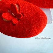 Обувь ручной работы. Ярмарка Мастеров - ручная работа Валяные тапочки Бабочка. Handmade.