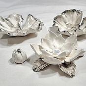 Для дома и интерьера handmade. Livemaster - original item Water lilies panels in monochrome. Handmade.