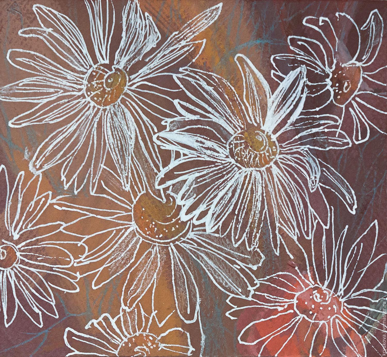 Полевые цветы Картина с цветами Белые цветы в подарок Импрессионизм картина Рисунок графика купить в подарок женщине девушке на день рождения свадьбу 8 марта картина поле ромашек рисунок в интерье
