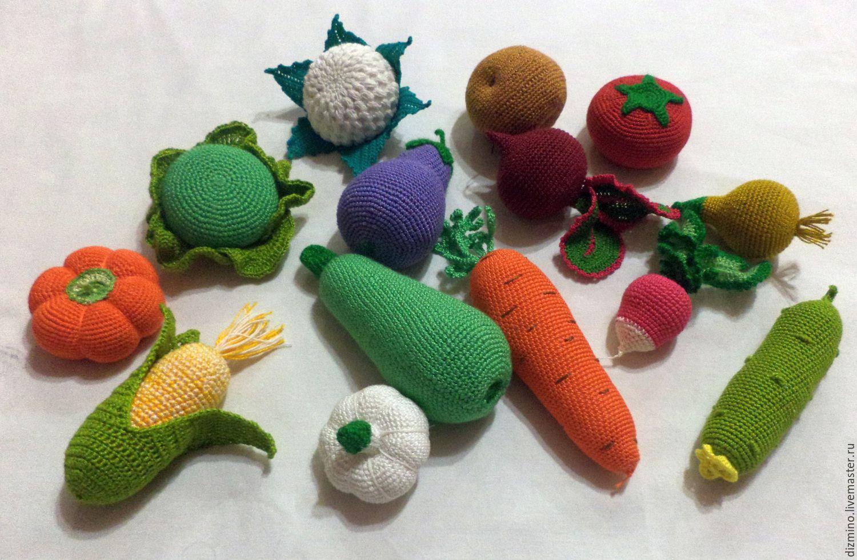 Вязаные крючком овощи фрукты развивающие игрушки – купить ...