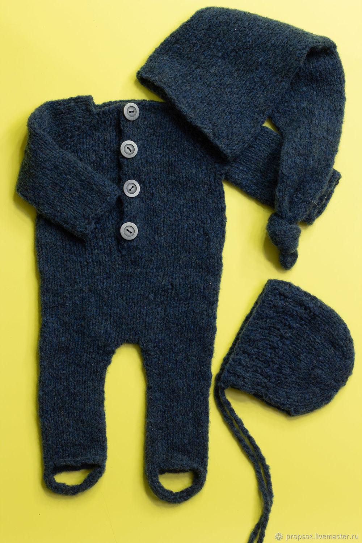 Комплект темно-синний из мериноса для newborn, Комплекты одежды для малышей, Москва,  Фото №1