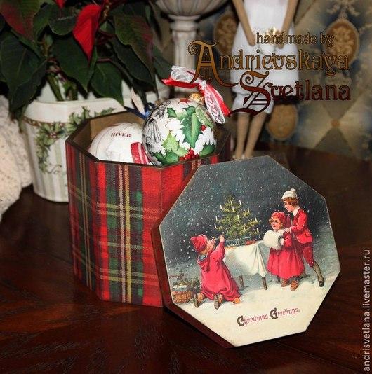 Корзины, коробы ручной работы. Ярмарка Мастеров - ручная работа. Купить Короб Christmas Greetings. Handmade. Короб, новогодний декор