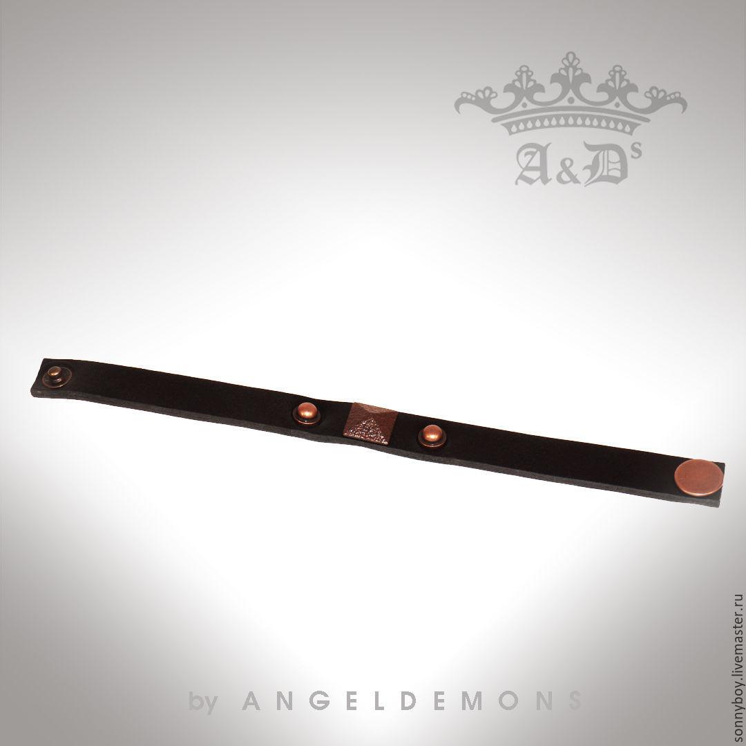 Браслет из кожи - Bracelet Black Cuprum Romb