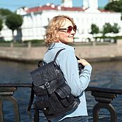 Сумки и аксессуары handmade. Livemaster - original item Backpack leather women black black Swan Mod R12p-611. Handmade.